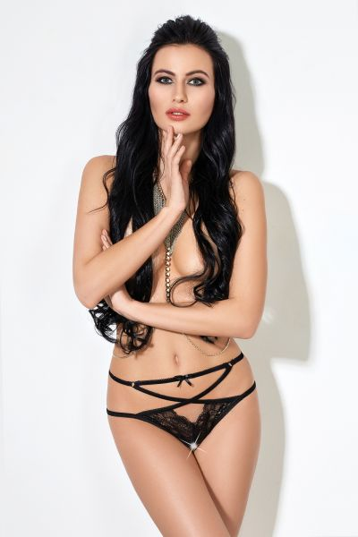 Грас. Трусики Overslip with straps, lace and loop black, M/L (46-48)